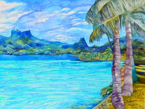 The first painting of the Tahitian series… 'Cook's Bay, Moorea'